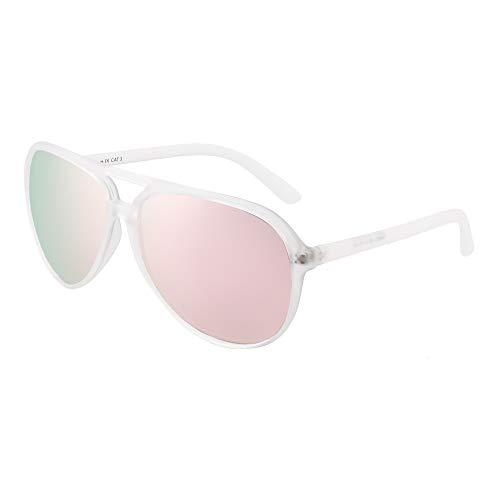 JIM HALO Polarizadas Aviador Gafas de Sol Hombre Mujer Oversize Plástico Conduciendo Anteojos(Marco Transparente Mate/Lente Rosa Polarizado)