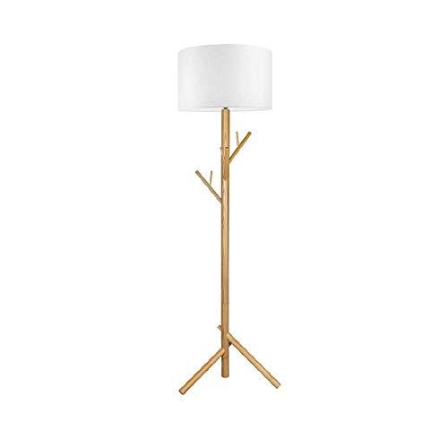 CHENJIA Nordic lámpara de pie, lámpara de madera maciza Shade + paño de LED de la sala de estar Habitación Hotel creativo de la suspensión vertical decorativo 56 * 50 * 180 Cm