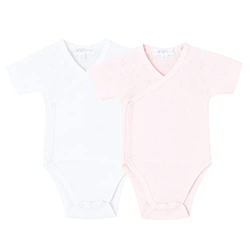 Amomí Body Cruzado Clavo Manga Corta Bebé Recien nacido Pack de 2 Pcs 100% Algodón (1 Mes, A21035)