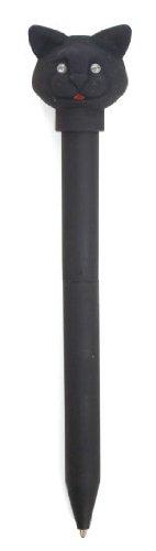 Kikkerland Cat LED Ballpoint Pen, Black (4421C)