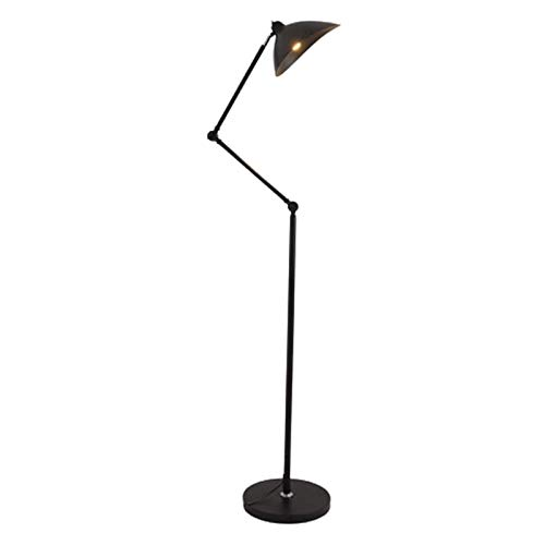 Lámpara de Pie Lámpara de LED Lámpara de cabecera vertical retráctil Polo for sala de estar dormitorio de noche Sofá Lámpara de Pie Moderna (Color : Black)