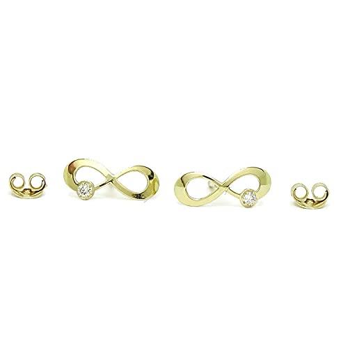 Pendientes de oro amarillo de 18k con diamantes auténticos y cierre presión. 1.00cm de largo y 0.40cm de alto.