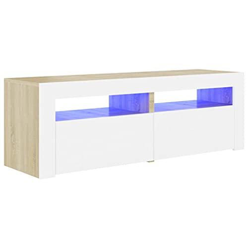 vidaXL Armario TV con Luces LED Soporte Muebles Aparador Estante Salón Sala de Estar Decoración Entretenimiento Blanco y Roble Sonoma 120x35x40 cm
