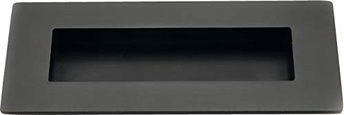 JUVA Muschelgriff Schiebetür Einlassgriff eckig Schiebetürgriff schwarz - Alpine Style H10188 | 120 x 50 mm | Schrankgriff handgefertigt im Landhausstil | 1 Stück - Möbelgriff Antik zum Einlassen