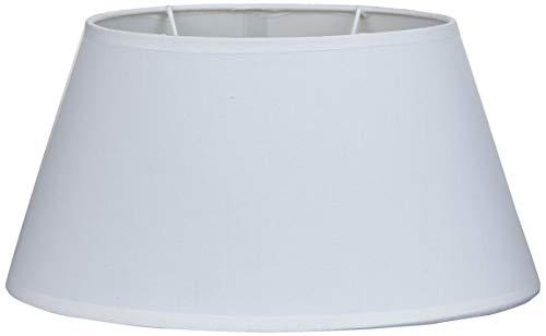 Better & Best Oval 30 Cm Blanca Pantalla de lámpara de Algodon, Forma Ovalada, Lisa, de 30x19 cm, Color