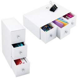 mDesign Set da 2 Organizer ufficio – Mini cassettiera da scrivania – Versatili cassetti scrivania in plastica con pomelli cromo – bianco