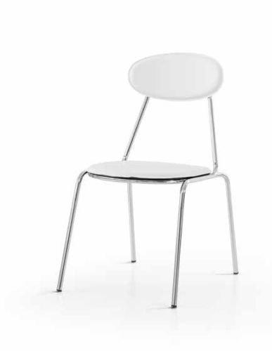 Legno&Design Lot X 2 Chaise Moderne Acier chromé Restaurant Cuisine Bar recouverte Simili Cuir Blanc