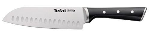 Tefal Ice Force Santoku Messer K23206 | 18cm | Korrosionsschutz | Handschutz | Edelstahl/Schwarz