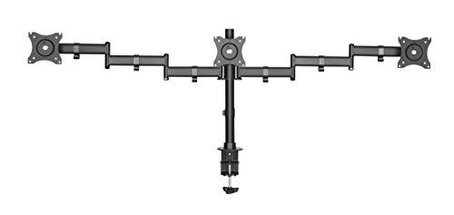 Rocelco DADR Robuster Stehtisch – höhenverstellbarer Sitzständer Schreibtisch Konverter Monitor möglich Dreier-Monitor schwarz