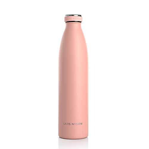 Lars NYSØM Botella de Acero Inoxidable de 1 litro | Botella aislada 1000ml sin BPA | Botella de Agua a Prueba de Fugas para Deportes, Bicicleta, Perro, bebe, ninos