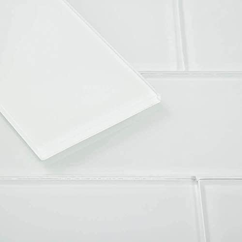 Diflart Glass Subway Tiles 3x6 Inch White Backsplash...