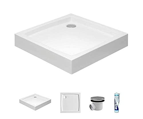 ECOLAM Receveur de Douche carré Patio 90x90 cm, Hauteur 16 cm, Profondeur 5 cm, Acrylique Blanc, Siphon, Silicone