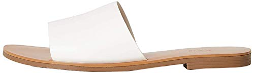 Marchio Amazon - FIND Flat Simple Mule Sandali a Punta Aperta, Bianco (White), 38 EU