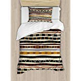 Ambesonne Abstract Duvet Cover Set, Ethnic Style Geometric Forms with Striped Pattern on Bold Earth Tones Print, Decorative 2 Piece Bedding Set with 1 Pillow Sham, Twin Size, Orange Cream