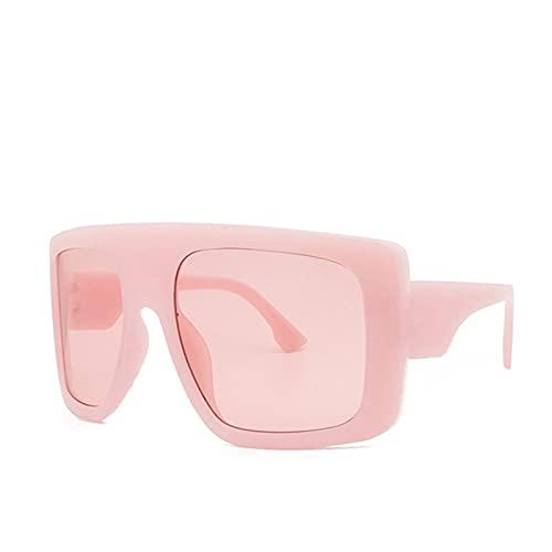 Celebridad Gran Escudo Cuadrado Square Gafas De Sol Mujeres Marca De Gran Tamaño Gafas De Sol Hombres Vintage Beige Shades Lady Windshield Oculos UV400 (Lenses Color : Pink)