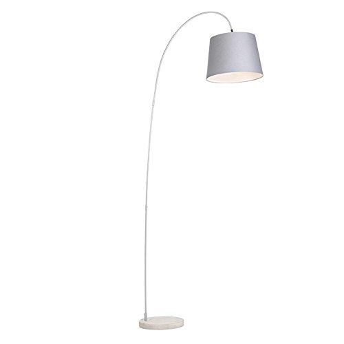 QAZQA Modern Moderne Bogenlampe mit grauem Schirm - Bend/Innenbeleuchtung/Wohnzimmerlampe/Schlafzimmer Stein/Beton/Stahl Länglich LED geeignet E27 Max. 1 x 60 Watt