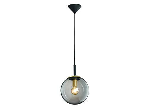 Honsel Leuchten - Lámpara de techo con iluminación LED y bolas de cristal ahumado, color negro y latón, Negro , Pendelleuchte Ø25cm