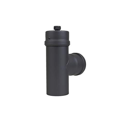 LANZZZAS pelletrohr T-stuk met condensatkap, diameter DN Ø 80 mm, in zwart metallic en gietijzeren grijs, pellet-, kachelpijp, rookpijp T-stuk, voor uw pelletkachel modern zwart-metallic