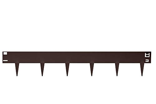 HORNVAL Bordure de gazon avec épines en tôle d'acier revêtue 100 x 17,5 cm | Lot de 15 pièces dans l'emballage, poids 20 kg | Mat, disponible en trois couleurs | Bronze