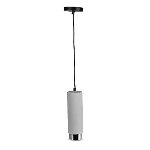 V-TAC VT-864 Lámpara de techo colgante 1 m GU10 de yeso gris con borde metal cromado - sku 3135