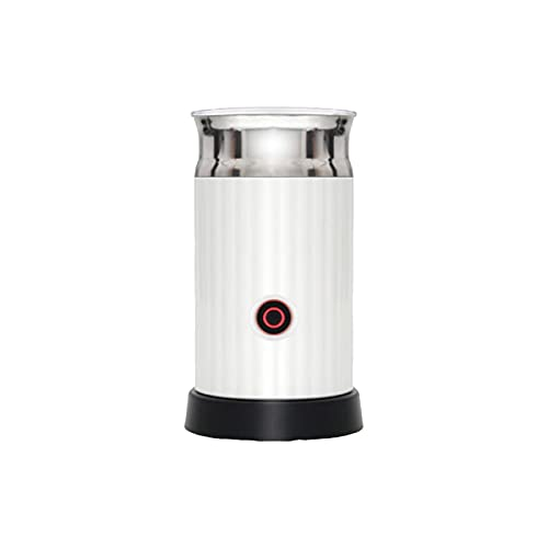 TOPWOR Espumador de leche eléctrico, espumador de leche de acero inoxidable con revestimiento antiadherente, para leche, café, leche, capuchino, blanco + negro + plateado
