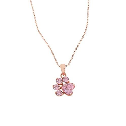 Collar De Plata De Ley 925, Accesorios De Joyería para Mujer, Collar con Forma De Pata De Animal, Colgante, Huella (Color : Rose Gold)
