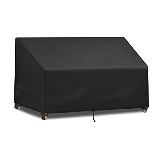 FlyLemon 2-Sitzer Gartenbankbezug,Atmungsaktiver 420D Oxford Stoff,Wasserdichter UV-beständiger Sitzbezug für den Außenbereich (134 x 66 x 63/89 cm)