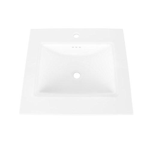 MAYKKE Brighton Ceramic Bathroom Vanity Sink Top with Single Faucet Hole Drop-in Rectangular Cabinet Sink cUPC Certified, Overflow Included White YSA1072503