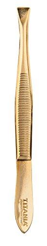 Titania Pince à épiler, Très plaqué or, droite, pack de 1 (1 x 12 g)
