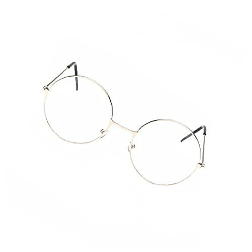 NiceJoy Gafas Redondas Unisex Vintage Marco de Metal con Gafas Retro Lente Transparente Gafas