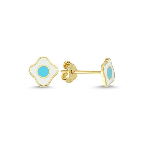 14k (585) Gold Enamel Kids Earrings