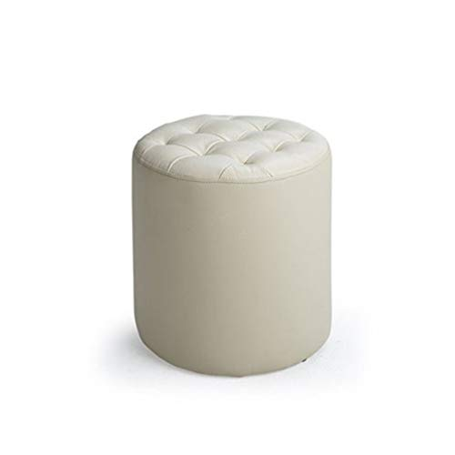 CHU N Europea de Cuero Sofá Taburete, Sala de heces pequeñas y Redondas del pie Planta Madre (34.5x36cm) 925 (Size : White)