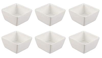 Porcelain Ramekins Set - 6-Piece 4oz Square Ramekins for Baking, Oven Safe, For Creme Brulee, Souffle Dishes, Custard Cups, Dessert, Fruit Serving, Dipping Sauce Bowls, Plain White, 3 x 1.6 Inches