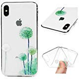 iPhone Xs Max 6.5 Case, MOTIKO Clear Transparent Dandelion Painted Gel Silicone Shock Absorption Bumper Soft Flexible Rubber TPU Anti-Scratch Clear Back Protective Cover for iPhone Xs Max 6.5