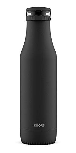 Ello Riley 18oz Vacuum Insulated Stainless Steel Water Bottle with Flip Lid, Black, 18 oz.