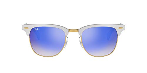 Ray-Ban Clubmaster Aluminum 137/7Q Gafas de sol, Brushed Silver, 49 Unisex-Adulto