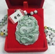 K-ONE Joyas Jadeíta Natural Puro Verde Dos Colores Gran dragón Volador Colgante Collar de Cuentas de Jade de Tres Colores Enviar Clase AC