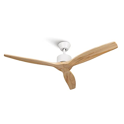 Mellerware Ventilador de Techo con Mando a Distancia. 3 Aspas. Potencia de 45 W. Ultrasilencioso. 132 cm de diámetro. 6 velocidades. Temporizador (Light Wood, Ventilador de techo)