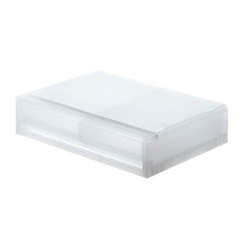 無印良品 ポリプロピレンケース引出式・横ワイド・薄型2個 幅37×奥行26×高さ9cm 15253777 半透明