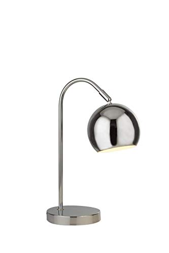 Lighting Collection PT-1058 Modern and Sleek 1 Light Rotary Arch Table Lamp with Adjustable Dome Shaped Shade, Chrome