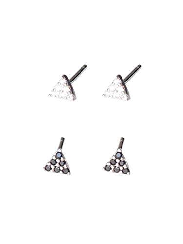 Mini Micro Boor Zwarte en Witte Driehoek Oorbellen, 925 Sterling Zilver Kleine Oorbellen voor Mannen en Vrouwen Oorpiercing Eenvoudige Japanse en Koreaanse Oorbellen, Thumby Kleur: wit