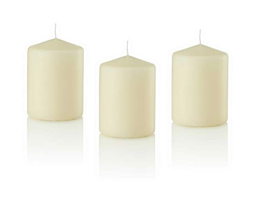 Dlight Online 3 X 4 Pillar Candles Bulk Event Pack Round Unscented Ivory Pillar Candles Qty 12 - (Ivory)