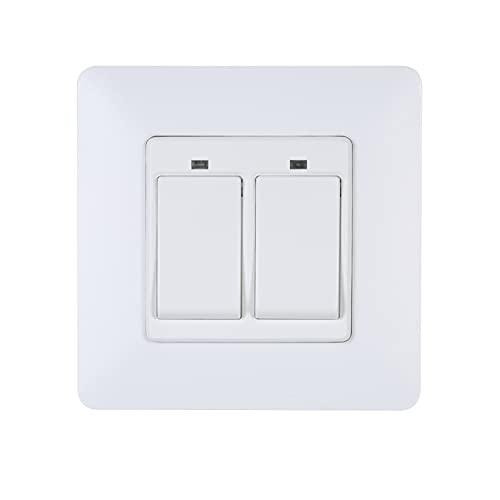 Voupuoda Interruptor de luz inteligente Interruptor inteligente de WiFi en la pared con control separado de 2 cuadrillas Compatible con y Google Assistant Interruptor de control remoto sin neces