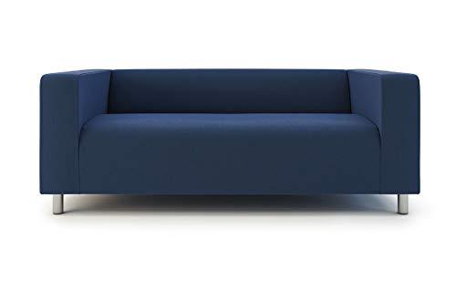 Super Thick Cotton Snug Fit Klippan Loveseat Cover 2 Seat Sofa Slipcover For Ikea Klippan Sofa (Cotton Blue)