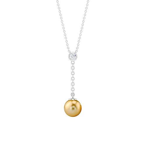 Colgante de perlas de mar del sur de forma redonda de 4,61 quilates, con bisel de diamantes HI-SI, colgante de cadena larga de oro, collar único, colgante de regalo