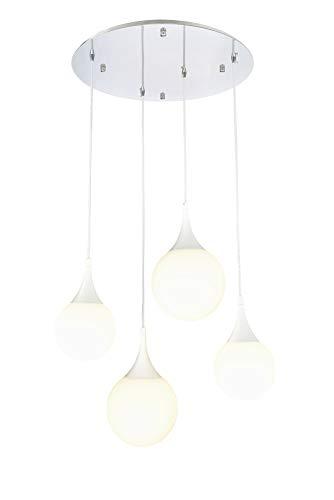 Suspension Design, 4 Lampe, Style moderne, Loft, Armature en Métal couleur blanc, abat-jour de design original en verre coleur blanc, 4 ampoules, excl. 4 E27 8W 220-240V