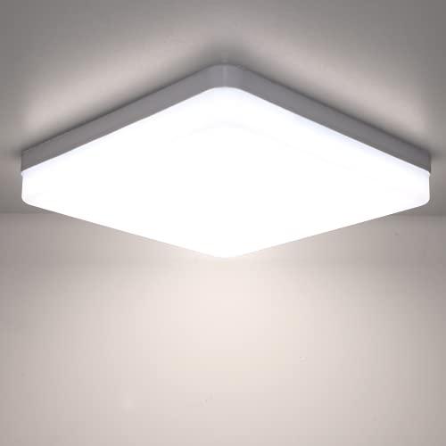 Kimjo LED Lampara de Techo 36W Blanco Natural 4500K, Plafon LED Techo Modern IP44 Impermeable para Baño, Luz de Techo Cuadrado Delgada para Cocina Dormitorio Sala de Estar Balcón Pasillo Oficina