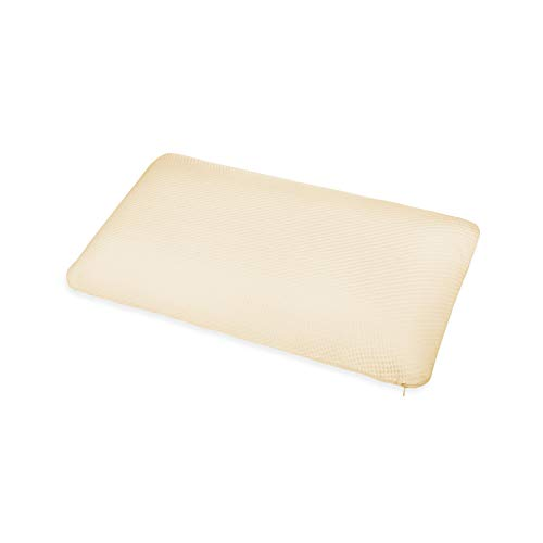 ABAKUHAUS Almohada de Cómoda Espuma Viscoelástica con Doble Funda de Algodón Orgánico Relleno Semi Firme Anti-Ronquidos, Funda Suave y Lavable de Algodón Orgánico, 40 cm X 60 cm, Amarillo