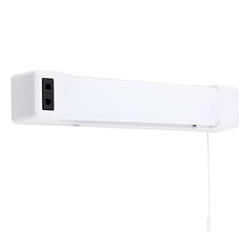 MiniSun – Moderne Wandleuchte fürs Badezimmer mit glänzendem weißem Finish inklusive eingebauter Rasiersteckdose, praktischer Zugschnur & integrierter LED-Beleuchtung – LED Badezimmerleuchte
