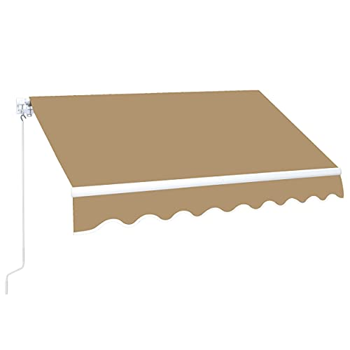 MUPATER 10'x12' Retractable Patio Awning Sun Shade Cover, Outdoor Shelter for Deck with Manual Crank, 120in Projection, Sand